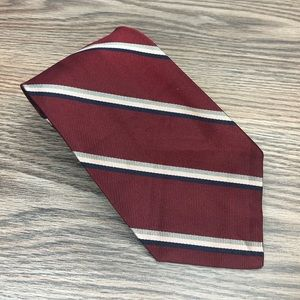 Robert Talbott Maroon w/ Navy & Pink Stripe Tie
